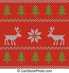 Red knitted Christmas sweater with deer seamless pattern -...