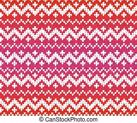 Red knitted ornament seamless pattern