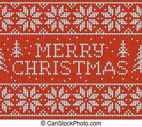 Red knitted seamless pattern with sign Merry Christmas - Red...