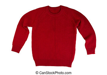 Red knitted sweater.