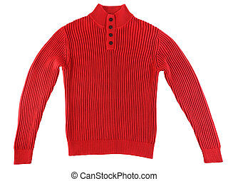 Red knitted sweater isolated on white background
