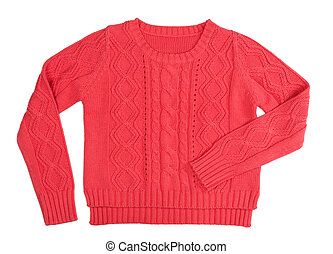 Red knitted sweater - Warm red knitted sweater with a...