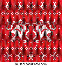 Red knitted sweater with two bells seamless pattern, vector...