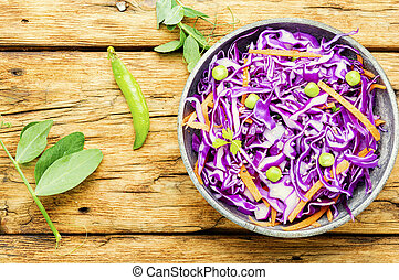 Red kraut salad - Fresh vegetables salad with purple cabbage...