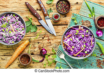 Red kraut salad - Vegetables salad with purple cabbage and ...