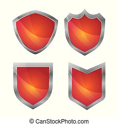Red label and badges with silver border on white background
