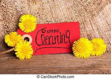 Red Label, Dandelion, Calligraphy Spring Cleaning, Wooden Background