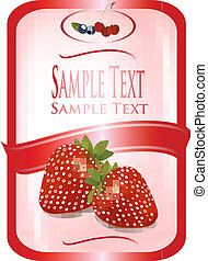 Red label with ripe strawberries. Vector