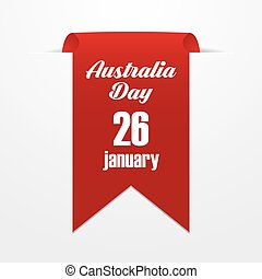 Red label with the date of Australia Day. Vector illustration