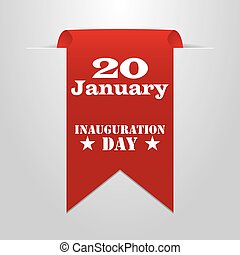 Red label with the date of inauguration day - Red label with...