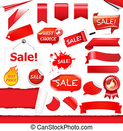 Red Labels And Ribbons Set, Isolated On White Background,...
