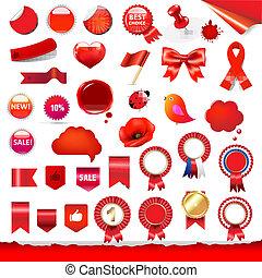Red Labels And Symbols Set