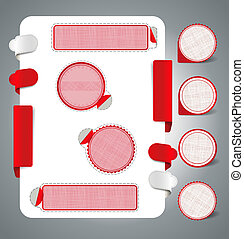 red labels - On a white background with red labels with tabs...