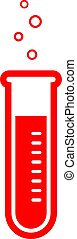 Red laboratory flask vector icon