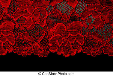 Red lace insulated on black background