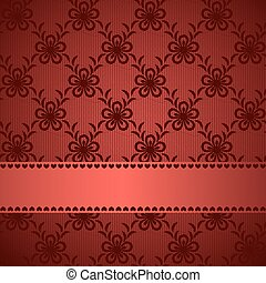 Red lacy background with silky ribbon.