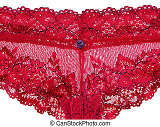 Red lacy lingerie - Sexy underwear. Closeup of red lacy...