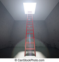 Red ladder to the exit the dark