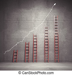 ladders chart - red ladders chart, business concept