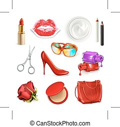 Red ladies handbag with cosmetics and accessories - Red...