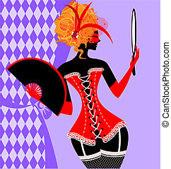 red lady in a corset - abstract red carnival lady in a...
