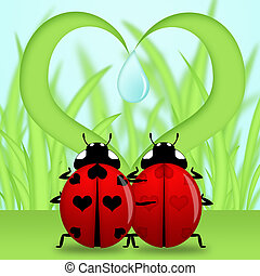 Ladybug Couple Under Heart Shape Grass - Red Ladybug Couple...