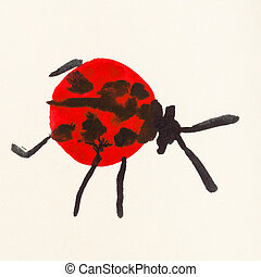 red ladybug hand painted on cream colored paper - training...