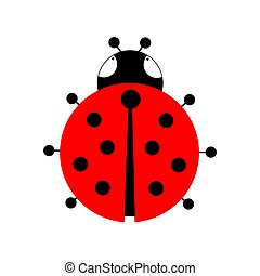 Red ladybug on a white background. Vector illustration.