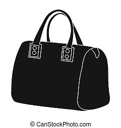 6125854b Red lady's bag with handles. Ladies accessory items. Woman clothes single  icon in black