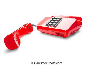 red landline phone on a isolated white background