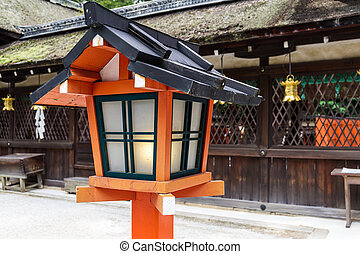 Red lantern in japanese temple