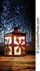 Red lantern in the window