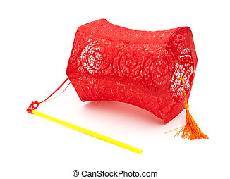 red lantern with handle on a white background