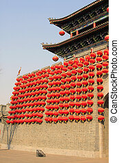 red lanterns on the wall