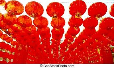 Red lanterns tassel swaying in wind