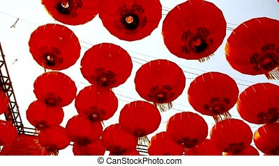 Red lanterns tassel swaying in wind, elements of East, china...