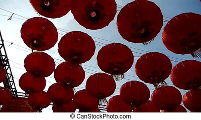 Red lanterns tassel swaying in wind,elements of East,china...