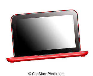 Red Laptop. Isolated on white background