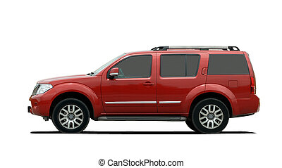 red large SUV side view