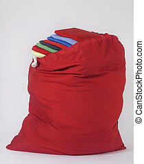 Red Laundry Bag with Folded Laundry