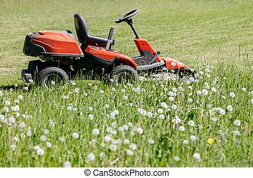 red lawn mower cutting green grass in the garden. grass-cutter on field.
