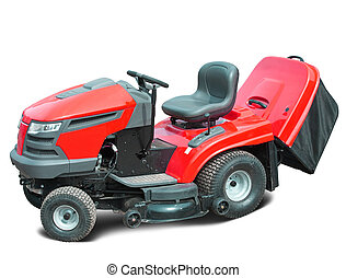Red lawn mower. Isolated over white background
