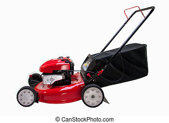 Red Lawn Mower - Red Lawn mower on white background
