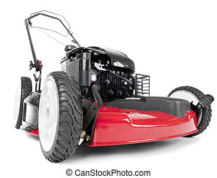 Red lawn mower on white background