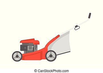 Red lawnmower. flat style. isolated on white background