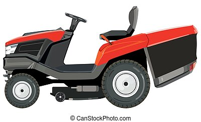 Red lawnmower on a white background