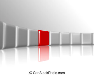 red leader - row of 3d white-grey cubes with one red in the...