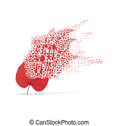 Red leaf of spoon on white background