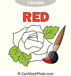 Red. Learn the color. Education set. Illustration of primary colors. Vector rose