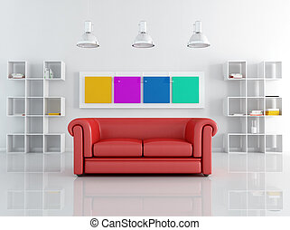 red leathe sofa in a white living room